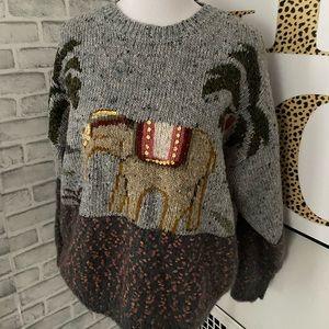 Vintage Together gray elephant print sweater size large